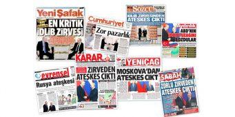 Первые полосы турецких газет о вчерашней встрече Путина и Эрдогана