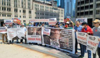 Кыргызстанцы в США вышли на митинг в поддержку похищенного Орхана Инанды